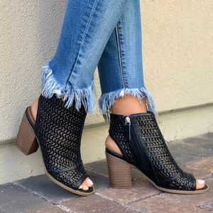 NIB BLACK Woven Peep Toe Block Heel Ankle Bootie
